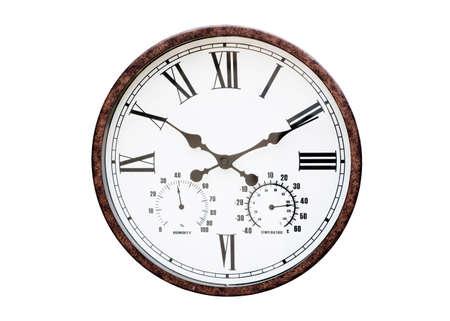 Vintage public clock isolated on white background