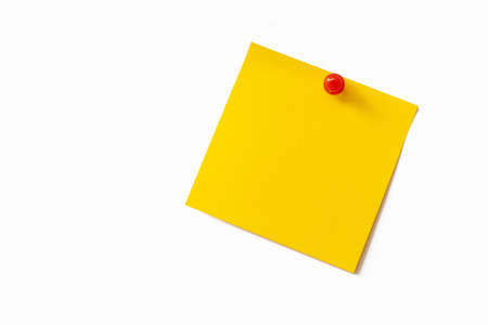Yellow sticky note on white background photo