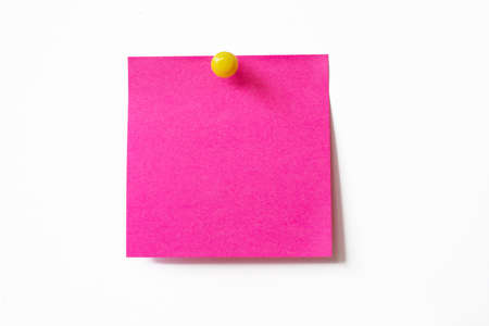Pink sticky note on white background  photo