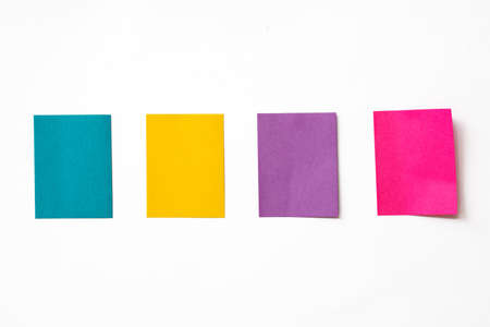 Colorful sticky notes on white backgroun photo