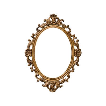 ovalo: Antiguo marco de oro aisladas sobre fondo blanco Foto de archivo