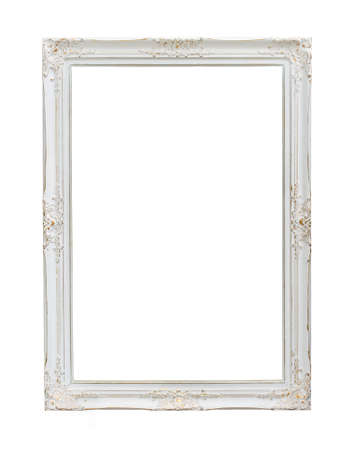 wooden frame: Vintage photo frame isolated on white background