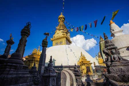 Monasterio de Swayambhunath en Nepal Editorial