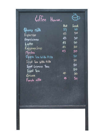 Coffee menu on the blackboard  photo