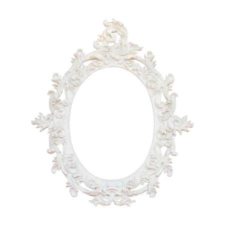 Marco blanco Vintage aislado sobre fondo blanco
