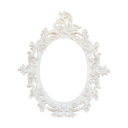 the oval: Vintage white frame isolated on white background