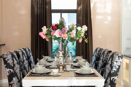 Luxurious dining table Stock Photo