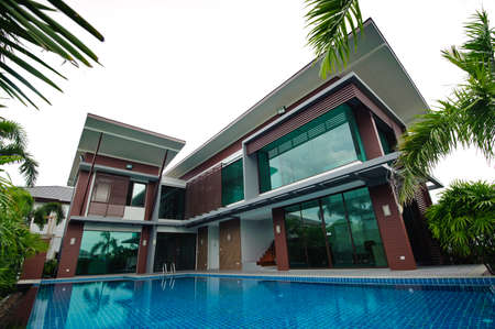 Swimming pool and modern building photo