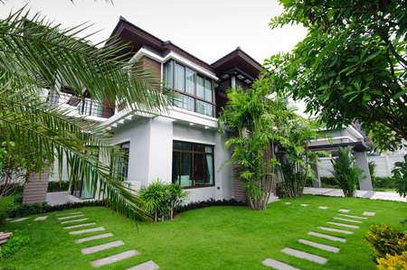 residential housing: Modern house in the garden