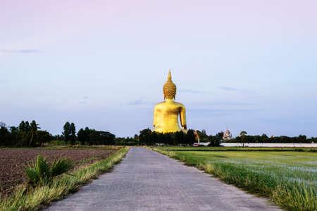 angthong: Golden Buddha statue at Wat Muang in Angthong, Thailand