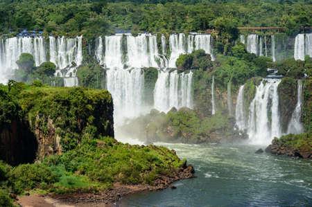 waterfall with sky: Iguazu waterfall, Brazil