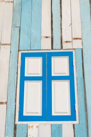 phillip rubino: Colorful aged wooden window frame Stock Photo