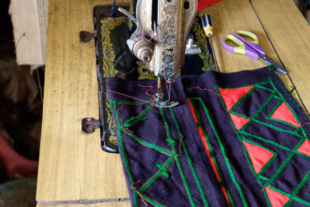 sewing process in the phase of overstitching Stock Photo