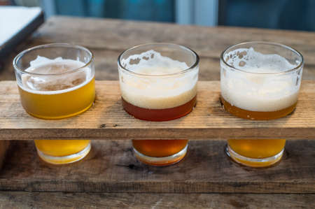 beer in bar: Craft beer in the glass Stock Photo