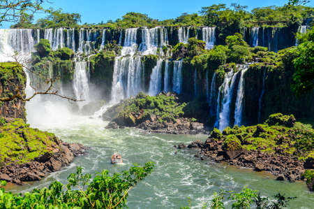 waterfall with sky: Iguazu falls view from Argentina
