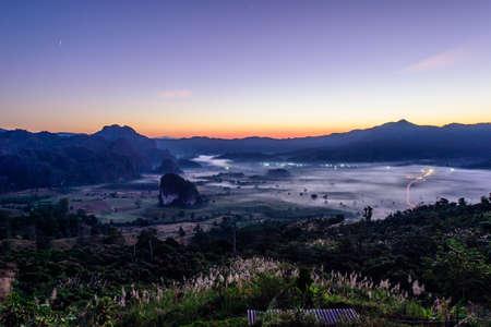 ka: Morning mist and mountain At Phu Lang Ka, Phayao, Thailand Stock Photo