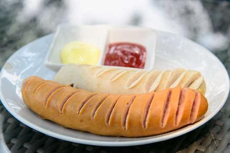 german sausage: Grilled German sausage