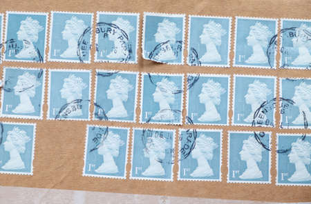 ENGLAND - CIRCA 1971 - 1975: English Used Postage Stamps showing Portrait of Queen Elizabeth 2nd, circa 1971 - 1975