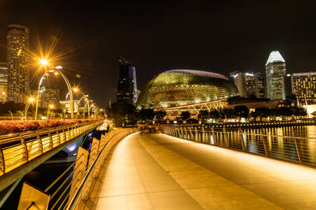 performing arts: SINGAPORE - NOVEMBER 23, 2016: night scene at Esplanade theatre on NOVEMBER, 2016. Esplanade theatre is a 60,000 square metres performing arts center located in Marina Bay.