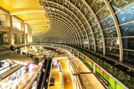 largest: SINGAPORE - NOVEMBER 24, 2016: The Shopping Mall At Marina Bay Sands Resort On NOVEMBER 24, 2016 In Bayfront, Singapore. The Mall Is One Of Singapore Largest Luxury Shopping Malls