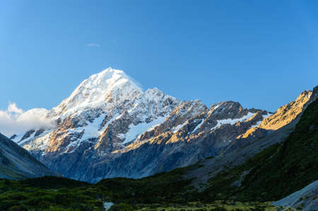 View of Mount Cook at Hooker valley track, NZ Stock Photo
