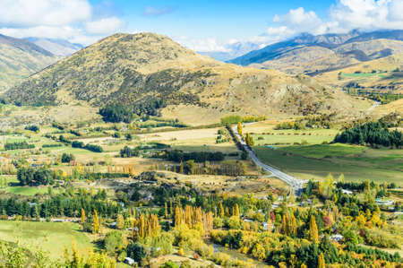 Top view of Arrowtown, NZ in Autumn Stock Photo