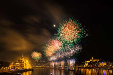 Firework over Danube river in Budapest, Hungary