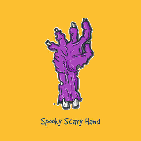 Dead Mans Hand Vector Illustration in Purple And Yellow Background Showing Its Bones And Broken Flesh, Suitable for Event Element, Backgroud, Wallpaper, Icon.