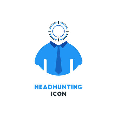 Simple Business Icon of Headhunting in Blue Color, Human Resource Concept Illustration.