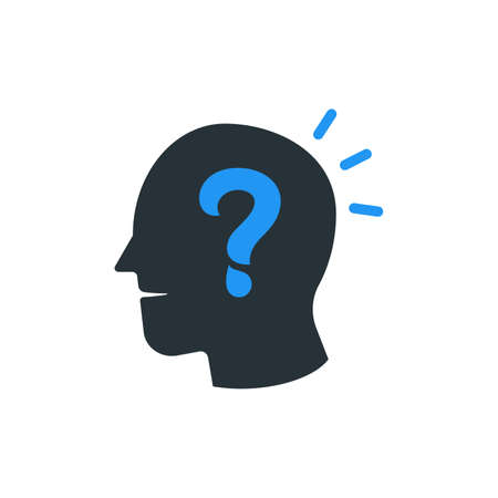Simple Business Icon of Head with Question Mark  Design Template. Vectores