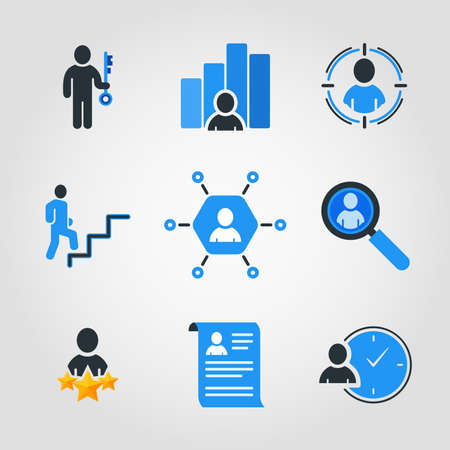 Set of Simple Business Icons in Blue and Black Color.