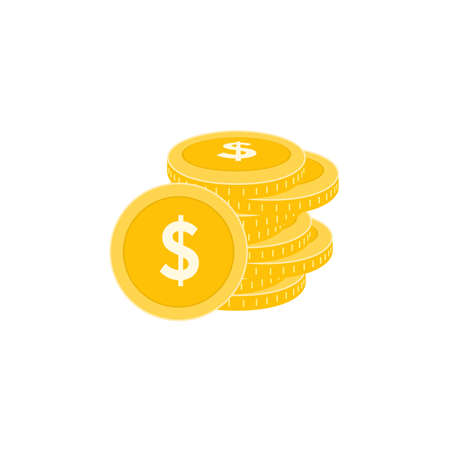 Realistic Stack of Dollar Coins Icon Design Template.