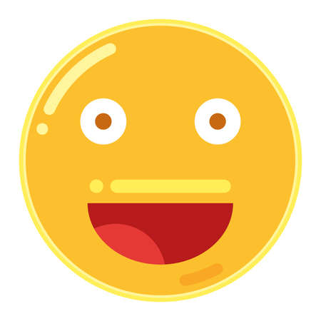 Emoticon of Smiley Face in Flat Design Icon Illustration