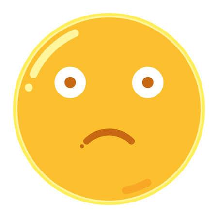 Emoticon di Frown Face nell'illustrazione piana dell'icona di progettazione