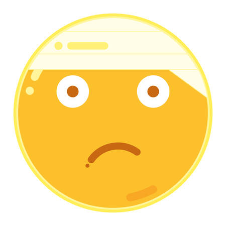 Emoticon of Frown Face in Flat Design Icon Illustration Illustration