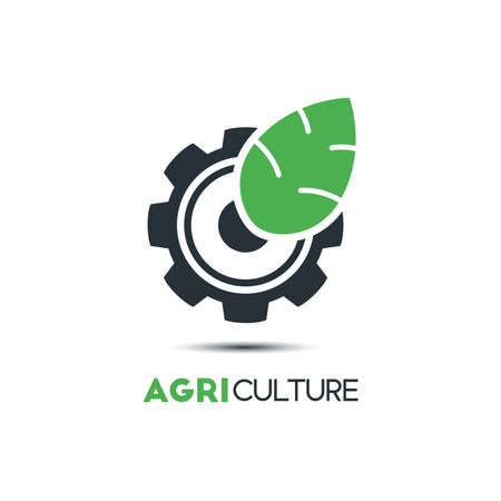 Agriculture logo concept template with leaf and cogwheel design. Çizim