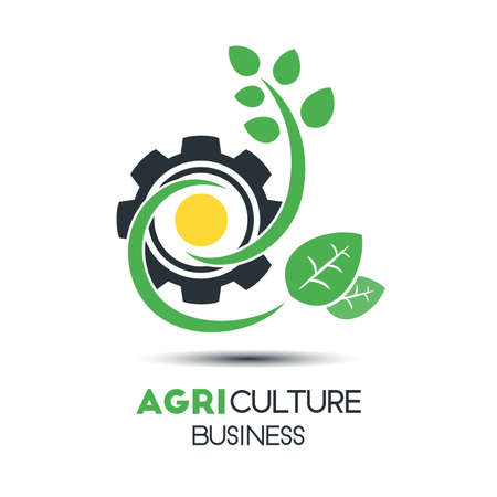Agriculture business logo concept template with leavescogwheel agriculture business logo concept template with leavescogwheel and sun design stock vector fbccfo Image collections