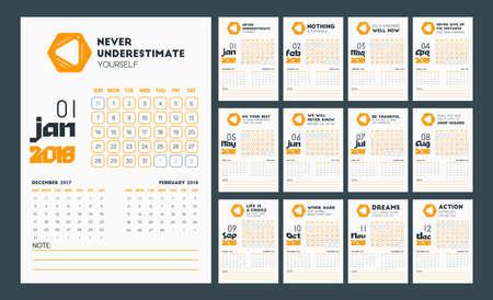 Desk Wall Calendar 2018 In Simple Flat Elegant Design Template