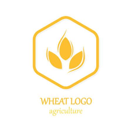 Landbouw tarwe embleem pictogram ontwerp sjabloon illustratie Stock Illustratie