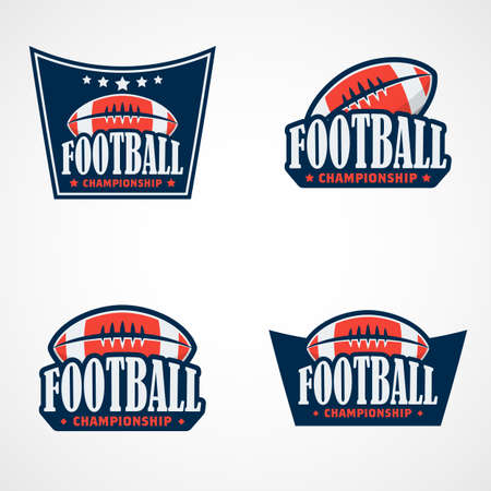 Set of American Football Logo Template. Vector College Logos Illustration Vectores
