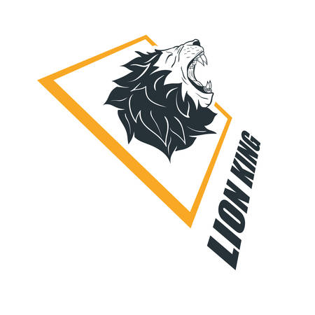 Lion Head Logo Template. Hand Drawn Creative Logo Vector Illustration