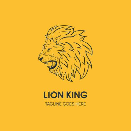 Lion Head Logo Template. Hand Drawn Creative Logo Vector Illustration
