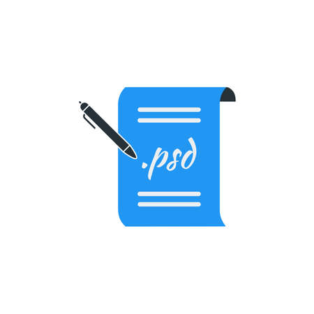 Simple Business Vector of Portfolio Paper Icon Template. Format File Icon with Pen Vector Illustration