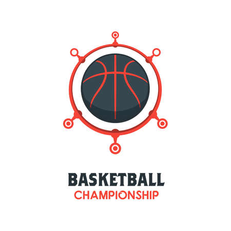 Silhouette of Basketball Ball. Basketball Logo Template using Linking Circle. Sport Game Vector Illustration