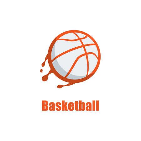 Silhouette of Basketball Ball. Basketball Logo Template with Swooshing Effect. Shooting Ball Vector Illustration