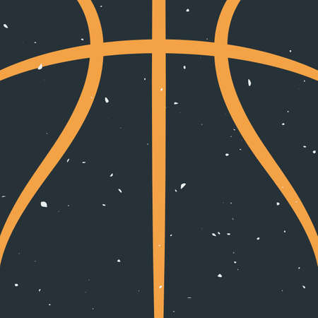 Silhouette of Basketball Ball. Basketball Background Template with Grunge Effect. Sport Game Vector Illustration