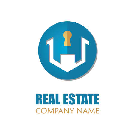 Modern Real Estate Logo Template. Abstract Letter House Logotype Icon Design Vector Illustration Ilustracja