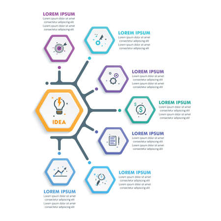 Business Infographic Template.Modern Hexagonal Infographics Timeline Design Template.Vector Illustration  イラスト・ベクター素材