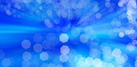 Abstract Blue bokeh background created by neon lights