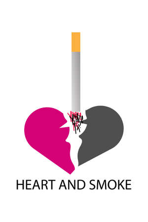 Quitting smoking can be break up with the mind concept. Copy space in pink heart background.